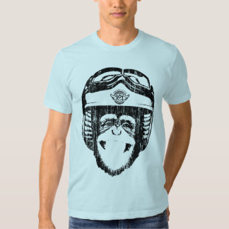 Mono feliz de Moto (negro del vintage) Poleras