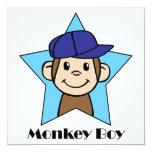 Mono feliz del clip art lindo del dibujo animado invitación 13,3 cm x 13,3cm