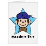 Mono feliz del clip art lindo del dibujo animado tarjeta pequeña