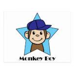 Mono feliz del clip art lindo del dibujo animado postal