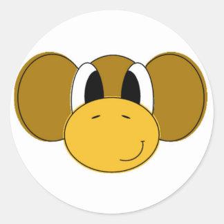 mono feliz pegatina redonda