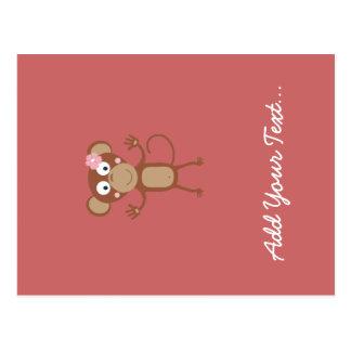 mono femenino con la flor tarjetas postales