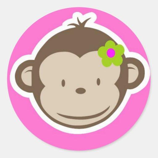 Mono femenino etiqueta redonda