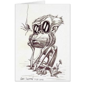 Mono feo con la flor e insecto tarjeta de felicitación