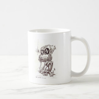 Mono feo con la flor e insecto tazas de café
