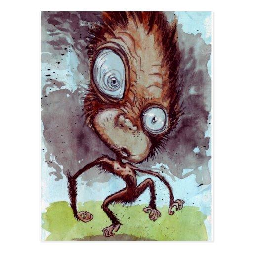 Mono feo salvaje tarjeta postal