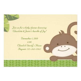 mono; fiesta de bienvenida al bebé invitación personalizada