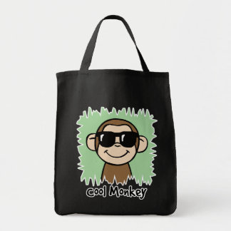Mono fresco del clip art del dibujo animado con bolsa tela para la compra