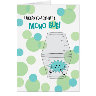 Mono Get Well Trapped Bug in Medicine Cups Card