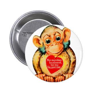 Mono Gorillia del mono de la tarjeta del día de Pin Redondo De 2 Pulgadas