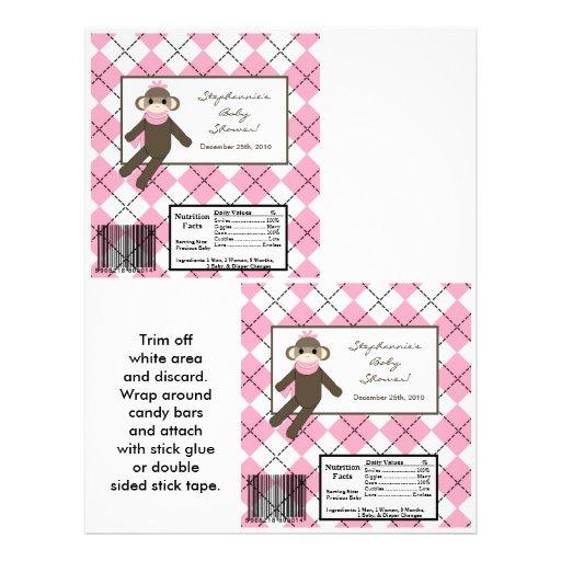 Mono grande del calcetín del rosa de la envoltura  tarjeta publicitaria