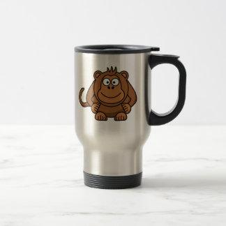 Mono grande del dibujo animado taza de viaje de acero inoxidable