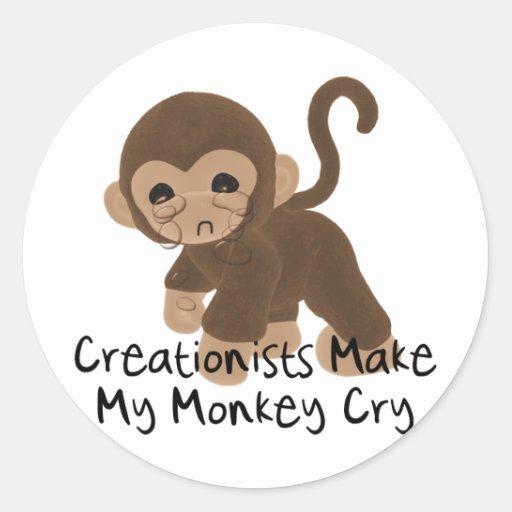 Mono gritador pegatina redonda