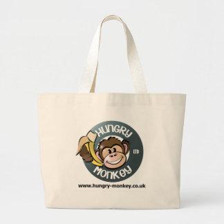Mono hambriento bolsa tela grande