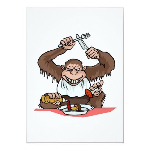 Mono hambriento invitación 12,7 x 17,8 cm