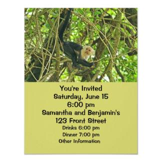 """Mono hecho frente blanco en selva invitación 4.25"""" x 5.5"""""""