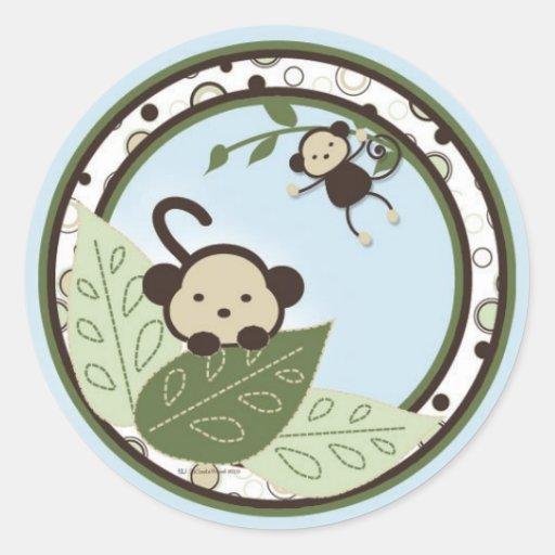 Mono, hojas y pegatinas de los círculos