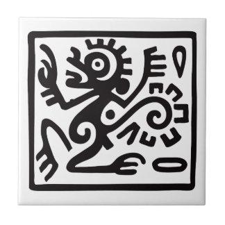 Mono, jeroglífico mexicano (maya) azulejo cuadrado pequeño