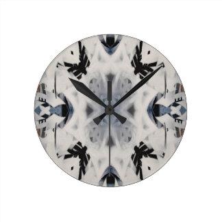 Mono kaleidoscope graffiti pattern round clock