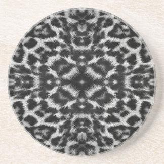 Mono kaleidoscope leopard fur pattern sandstone coaster