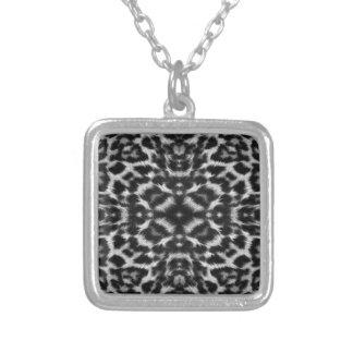 Mono kaleidoscope leopard fur pattern square pendant necklace