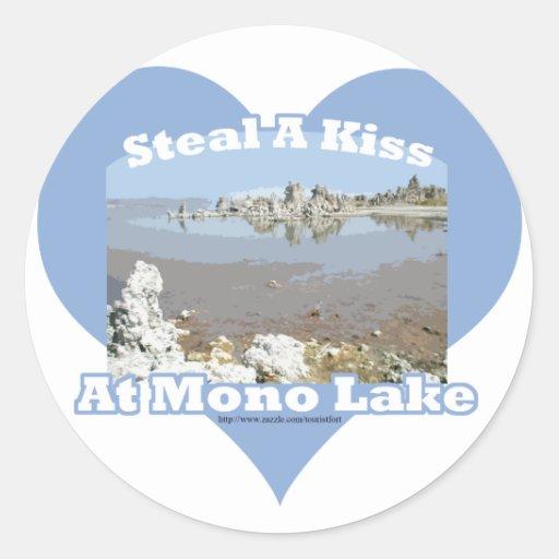 Mono lago pegatina redonda