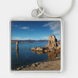 Mono Lake Scene Silver-Colored Square Keychain
