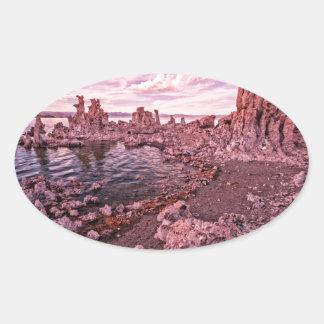 mono lake sunset oval sticker