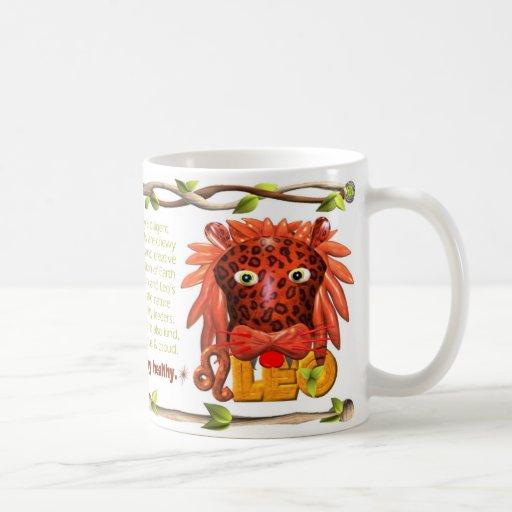 Mono Leo de la tierra del zodiaco de ValxArt lleva Tazas