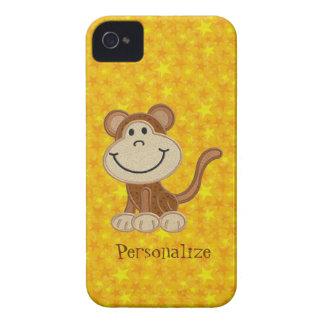 Mono lindo Blackberry personalizado amarillo Case-Mate iPhone 4 Fundas