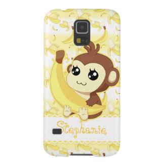 Mono lindo de Kawaii que sostiene el plátano Carcasa De Galaxy S5