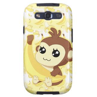 Mono lindo de Kawaii que sostiene el plátano Samsung Galaxy S3 Cárcasa