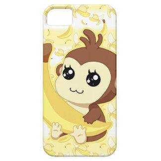 Mono lindo de Kawaii que sostiene el plátano iPhone 5 Coberturas