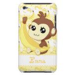 Mono lindo de Kawaii que sostiene el plátano Barely There iPod Protectores