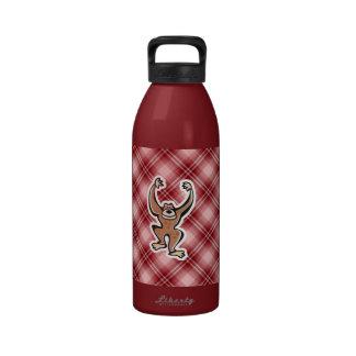 Mono lindo de la tela escocesa roja botella de beber