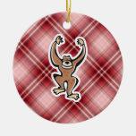 Mono lindo de la tela escocesa roja ornamento de reyes magos