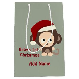 Mono lindo de Santa del primer navidad del bebé Bolsa De Regalo Mediana