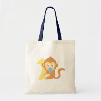 Mono lindo del bebé del dibujo animado con el plát bolsa tela barata