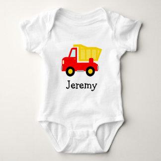 Mono lindo del bebé del dibujo animado del camión playeras