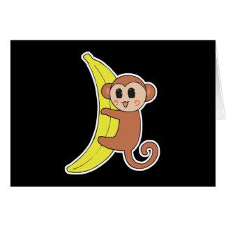 mono lindo del bebé en plátano tarjeta de felicitación