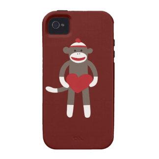 Mono lindo del calcetín con el gorra que lleva a c iPhone 4 carcasa