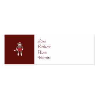 Mono lindo del calcetín con el gorra que lleva a tarjetas de visita mini