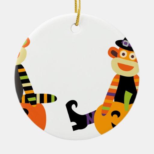 Mono lindo del calcetín de Halloween Ornamentos De Reyes