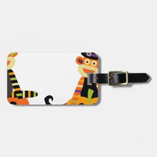 Mono lindo del calcetín de Halloween Etiquetas De Equipaje