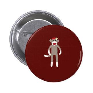 Mono lindo del calcetín del chica en rojo pin redondo 5 cm