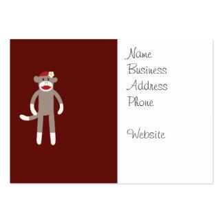 Mono lindo del calcetín del chica en rojo tarjetas de visita grandes