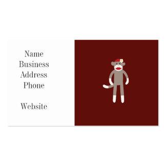 Mono lindo del calcetín del chica en rojo tarjetas de visita
