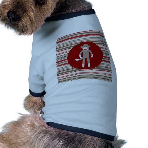 Mono lindo del calcetín en rayas rojo marrón del c camiseta con mangas para perro