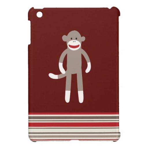 Mono lindo del calcetín en rojo con las rayas iPad mini cárcasas