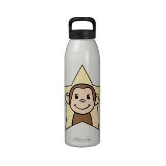 Mono lindo del clip art del dibujo animado con la  botellas de beber
